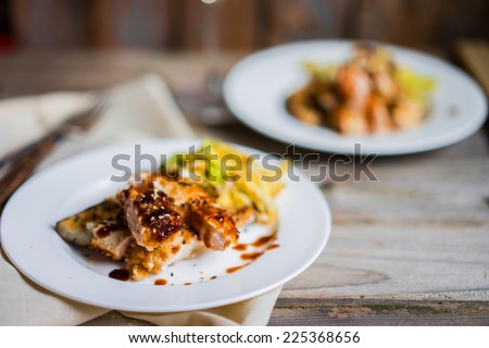 Grilled chicken with vegetables - stock photo