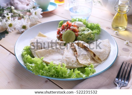 Grilled chicken wrap served with lettuce on a white plate.