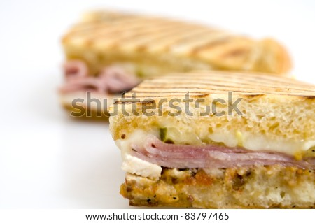 Grilled Cuban on a White Background - stock photo