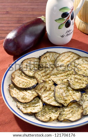 Grilled eggplant - stock photo