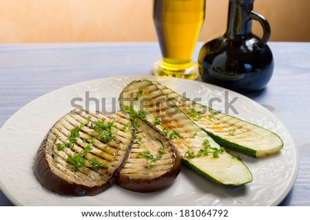 grilled eggplants and zucchinis - stock photo