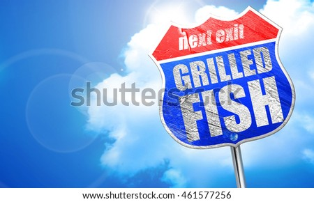 grilled fish, 3D rendering, blue street sign