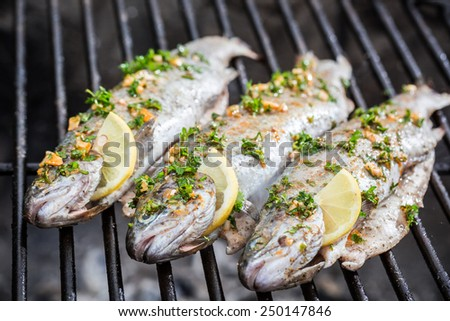 Grilled fish with lemon and spices - stock photo