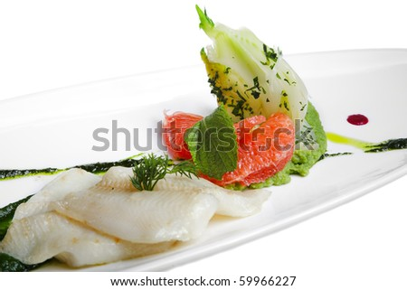 grilled fish with vegetables and grapefruit