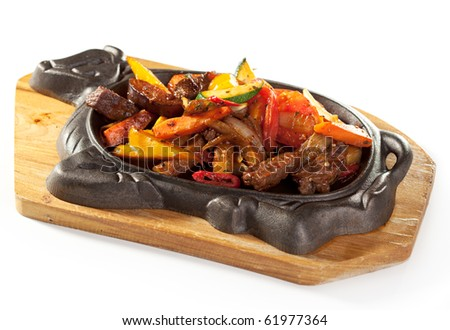 Grilled Foods - Meat with Vegetables - stock photo