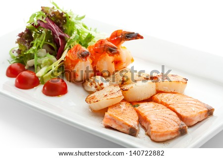 Grilled Foods - Seafood with Fresh Salad - stock photo