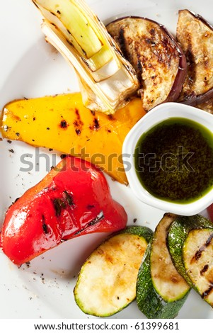 Grilled Foods - Vegetables with Sauce - stock photo