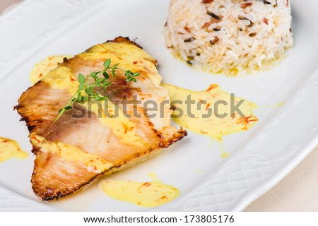 Grilled halibut with cream sauce and rice - stock photo