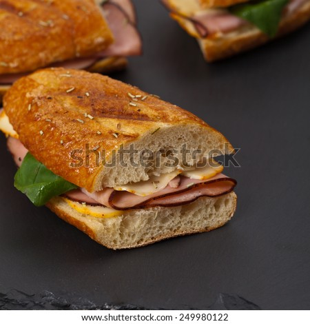 Grilled Ham and Cheese Panini Sandwich. Selective focus. - stock photo