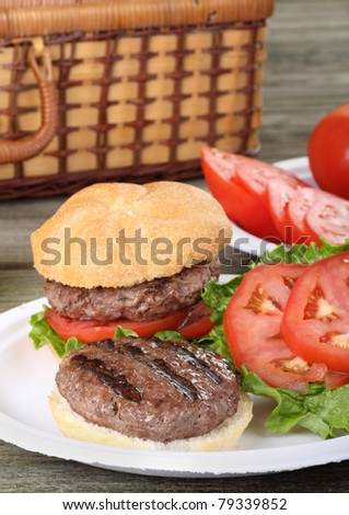Grilled hamburger with lettuce and tomato on a picnic table