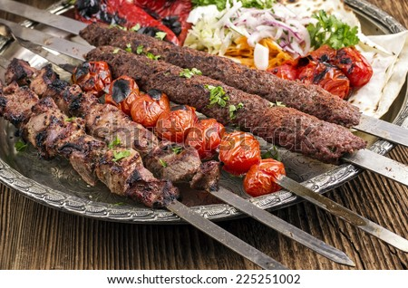 grilled kebab with koobideh - stock photo