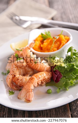 grilled langoustine and vegetable