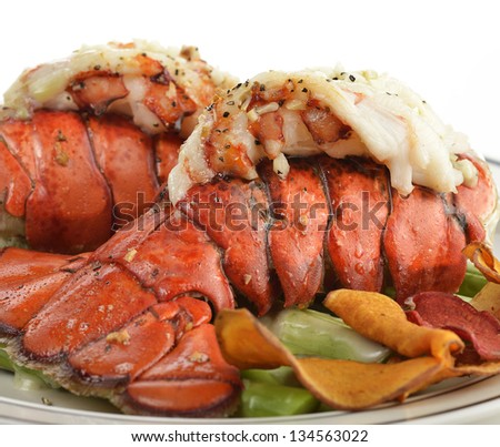 Grilled Lobster Tail  With Asparagus ,Close Up - stock photo