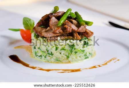 Grilled marinated sliced beef or lamb on savory rice topped with fresh green beans served on a white plate, side view - stock photo