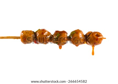 Grilled meat ball with sweet spicy sauce isolated on white. - stock photo