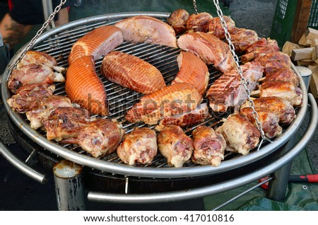grilled meat cooked over a slow fire