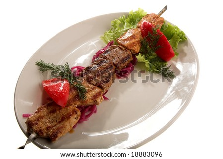grilled meat isolated on the white background