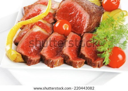 grilled meat isolated over white background
