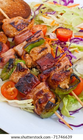 grilled meat on a skewer ready for eat - stock photo
