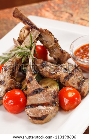 Grilled meat ribs - stock photo