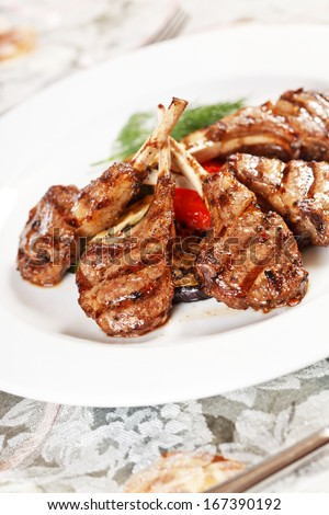 Grilled meat ribs