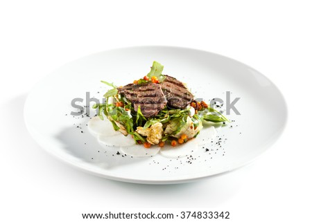 Grilled Meat Salad - stock photo