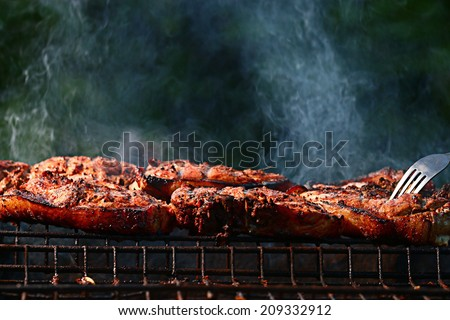 grilled meat skewers, barbecue - stock photo