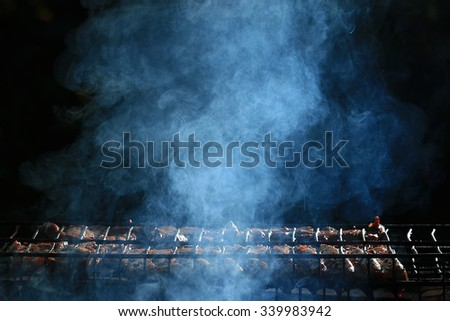 grilled meat smoke smoked barbecue - stock photo