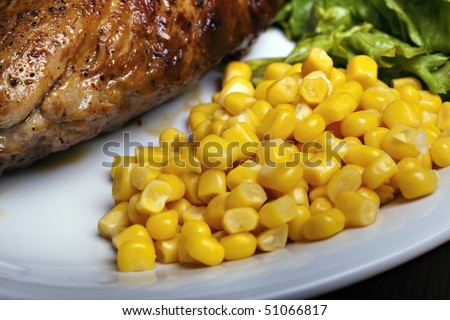 Grilled meat with vegetable, tasty food