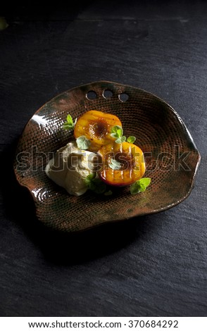 Grilled peaches - stock photo
