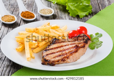 Grilled Pork Chops On White Dish Stock Photo (Royalty Free ...