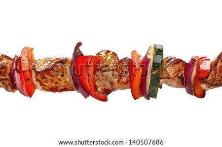 grilled pork meat and vegetables, pork barbecue - stock photo