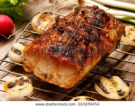Grilled pork meat, close up - stock photo