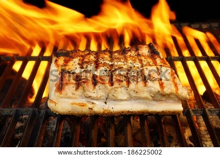 Grilled Pork Striploin and BBQ Flames. You can see more BBQ, grilled food, flames and fire on my page.