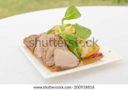 Grilled pork tenderloin, baked zucchini potatoes, pomegranate sauce. - stock photo