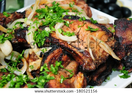 Grilled pork with spicy salad