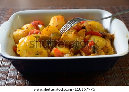 grilled potatoes with vegetables