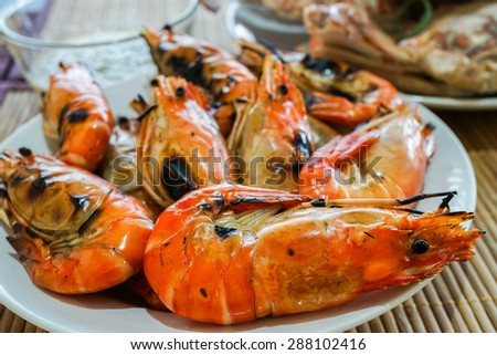 grilled prawn in plate is delicious seafood - stock photo