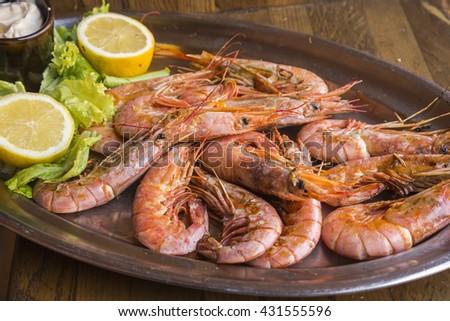 Grilled prawns dish - stock photo