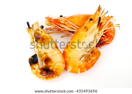 Grilled prawns on white background. - stock photo