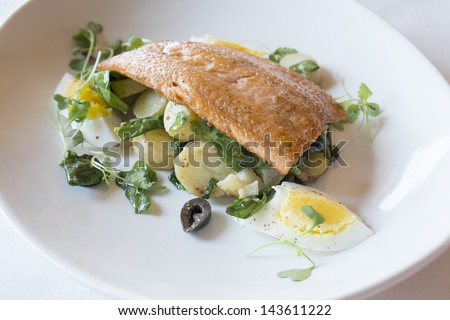 Grilled Rainbow Trout Over with a Bed of Potatoes, Spinach and Black Olives - stock photo