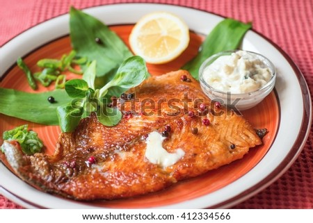 Grilled red trout fillet, garnished with lambs lettuce leaf, bear garlic, onion tops, halved lemon and small bowl with tartar sauce on red plate on red background - stock photo