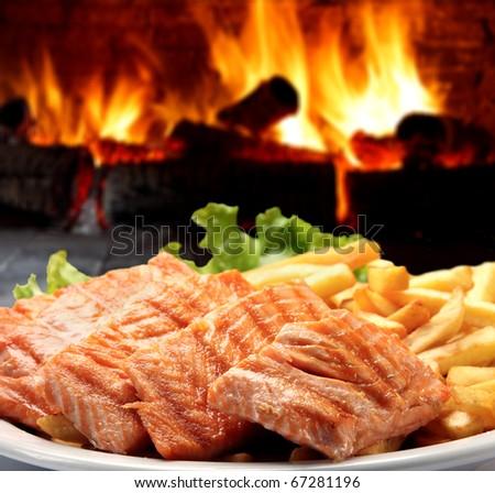grilled salmon - stock photo