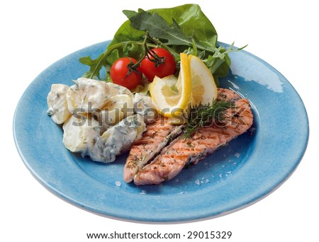Grilled salmon and potato - stock photo