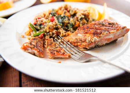 Grilled Salmon and Quinoa Pilaf with Kale and Peppers