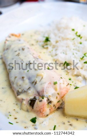 grilled salmon and rice-french cuisine dish with Potato and salmon