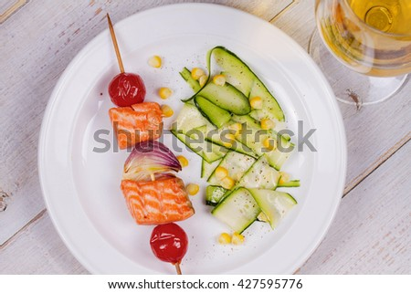 Grilled Salmon and Vegetable Kebabs