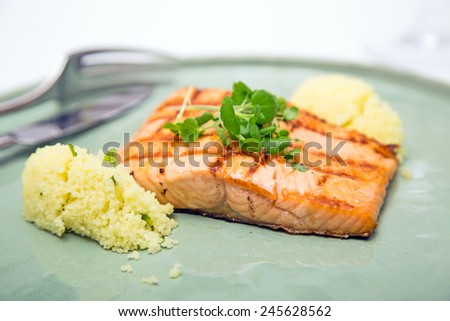Grilled salmon fillet on a plate shot against white background