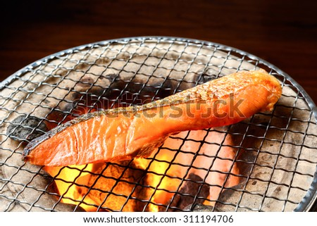 grilled salmon japanese food - stock photo