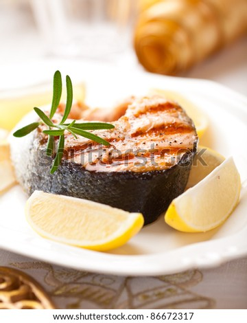 Grilled salmon steak for christmas